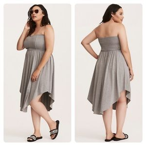 Torrid Smocked Jersey Tube Grey Skater Dress